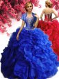 Ideal Royal Blue Ball Gowns Organza Sweetheart Sleeveless Beading and Ruffles Floor Length Lace Up Sweet 16 Dresses