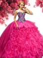 Sweetheart Sleeveless Lace Up Sweet 16 Dress Hot Pink Organza