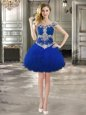 Off the Shoulder Cap Sleeves Mini Length Lace Up Club Wear Royal Blue and In for Prom and Party with Beading and Ruffles