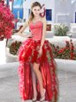 Red Dress for Prom Prom and Party and For with Beading and Ruffles Sweetheart Sleeveless Lace Up