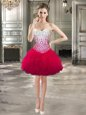 Super Hot Pink Lace Up Sweetheart Beading and Ruffles Cocktail Dresses Tulle Sleeveless