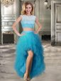 Trendy Tulle Scoop Cap Sleeves Lace Up Beading and Ruffles Prom Gown in Teal