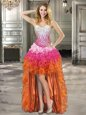 Multi-color Ball Gowns Beading and Ruffles Lace Up Organza Sleeveless High Low