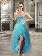 Captivating High Low Teal Prom Evening Gown Sweetheart Sleeveless Lace Up