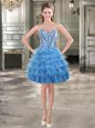 Exceptional Blue Organza Lace Up Sweetheart Sleeveless Mini Length Prom Gown Beading and Ruffled Layers