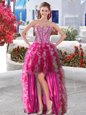 Glamorous High Low Fuchsia Prom Dresses Sweetheart Sleeveless Lace Up