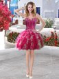 Fuchsia Club Wear Organza Sleeveless Beading and Ruffles