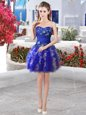 Organza Sweetheart Sleeveless Lace Up Appliques and Ruffles Prom Dress in Royal Blue