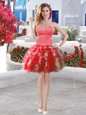 Amazing Ball Gowns Dress for Prom Red Sweetheart Organza Sleeveless Mini Length Lace Up