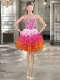 Excellent Sweetheart Sleeveless Organza Beading and Ruffles Lace Up