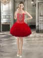 Superior Red Tulle Lace Up Prom Party Dress Sleeveless Mini Length Beading and Ruffles