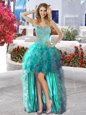 Organza Sweetheart Sleeveless Lace Up Beading and Ruffles Prom Dress in Turquoise