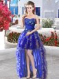 Most Popular Organza Sleeveless High Low Prom Dresses and Appliques and Ruffles