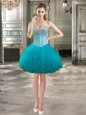 Sleeveless Tulle Mini Length Lace Up Evening Dress in Teal for with Beading and Ruffles