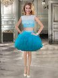 Scoop Teal Cap Sleeves Tulle Lace Up Dress for Prom for Prom and Party