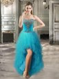 Teal Sleeveless High Low Beading and Ruffles Lace Up Evening Dress