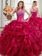 High End One Shoulder Floor Length Ball Gowns Sleeveless Fuchsia Vestidos de Quinceanera Lace Up