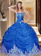 Royal Blue Tulle Lace Up Quinceanera Dress Sleeveless Floor Length Appliques and Pick Ups
