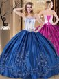 Royal Blue Lace Up Sweet 16 Quinceanera Dress Embroidery Sleeveless Floor Length