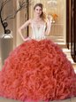 Best Selling Rust Red Lace Up Sweet 16 Quinceanera Dress Embroidery and Ruffles Sleeveless Floor Length