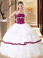 Captivating White Sleeveless Floor Length Beading Lace Up Quinceanera Gowns