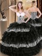 Black Ball Gowns Organza and Printed Sweetheart Sleeveless Ruffled Layers and Pattern Floor Length Lace Up Quinceanera Dresses