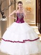 White Sleeveless Organza Lace Up Sweet 16 Dress for Military Ball and Sweet 16 and Quinceanera