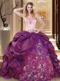 Fashion Floor Length Ball Gowns Sleeveless Purple 15 Quinceanera Dress Lace Up