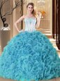 Elegant Aqua Blue Quinceanera Dress Military Ball and Sweet 16 and Quinceanera and For with Embroidery and Ruffles Strapless Sleeveless Lace Up