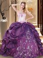 Custom Fit Sleeveless Lace Up Floor Length Embroidery Vestidos de Quinceanera
