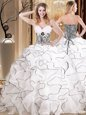 Floor Length Ball Gowns Sleeveless White Ball Gown Prom Dress Lace Up