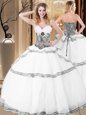 High Quality White Organza Lace Up Sweetheart Sleeveless Floor Length Quince Ball Gowns Ruffles
