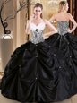 Hot Sale Satin and Taffeta Sweetheart Sleeveless Lace Up Pick Ups Sweet 16 Dresses in Black