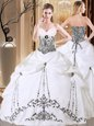 Taffeta Sleeveless Floor Length Sweet 16 Quinceanera Dress and Embroidery and Pick Ups