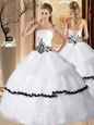 White Lace Up Quinceanera Dress Appliques and Ruffled Layers Sleeveless Floor Length