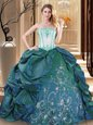 Hot Sale Strapless Sleeveless Taffeta Sweet 16 Dress Embroidery and Pick Ups Lace Up