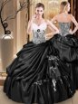 Black Sweetheart Neckline Appliques and Pick Ups Quinceanera Gown Sleeveless Lace Up