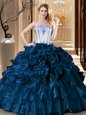 Dazzling Sleeveless Lace Up Floor Length Pick Ups Vestidos de Quinceanera