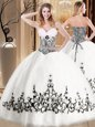 New Arrival White Tulle Lace Up Sweetheart Sleeveless Floor Length 15th Birthday Dress Embroidery