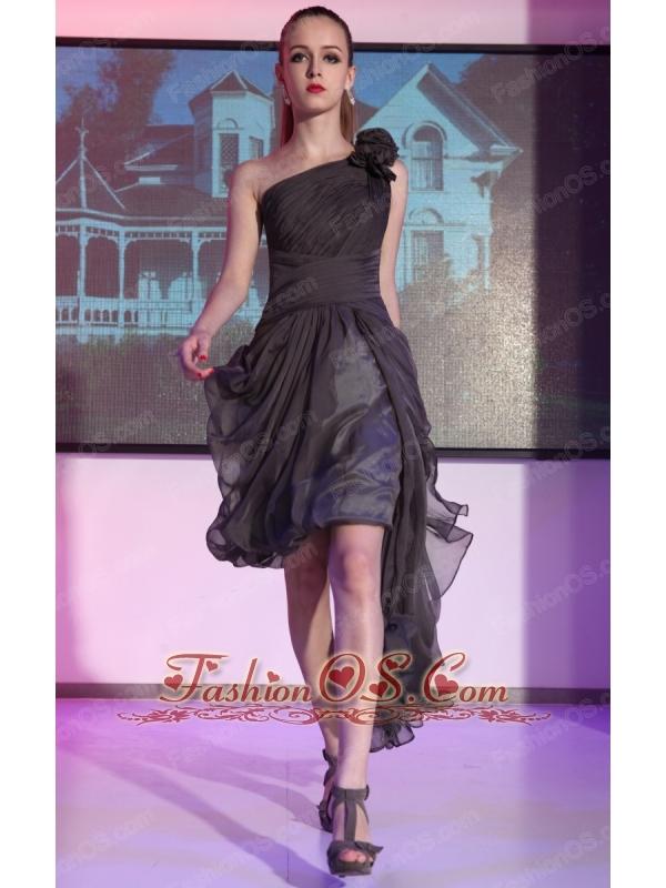 Black Asymmetrical One Shoulder High-low Chiffon Hand Made Flowers Prom Dress