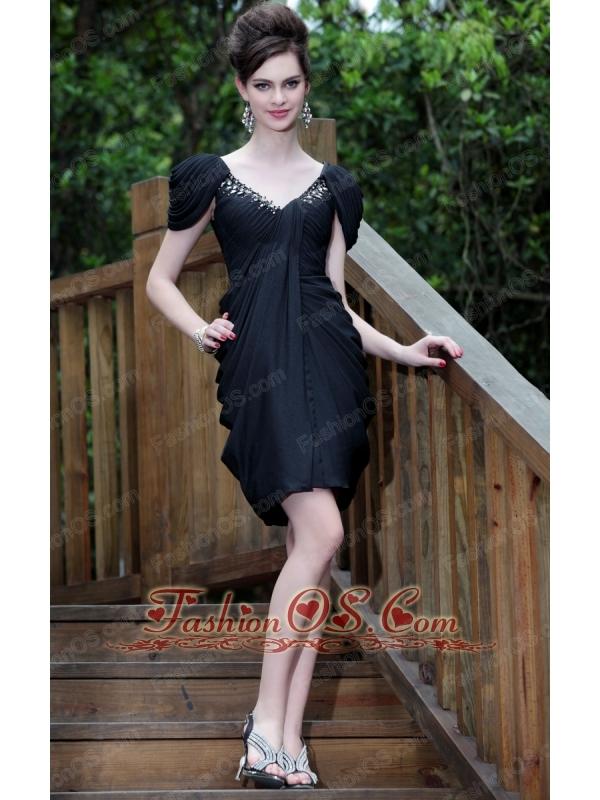 Black Column V-neck Mini-length Taffeta Beading Prom Dress