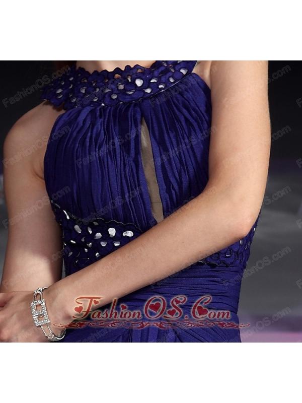 Royal Blue Column / Sheath Scoop Floor-length Chiffon Beading Prom / Evening Dress