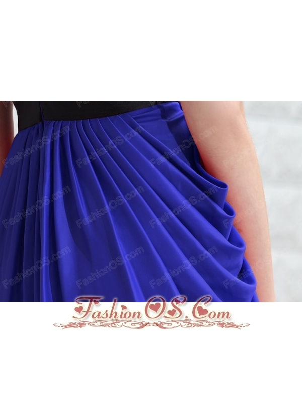 Blue Column V-neck Mini-length Taffeta Beading Prom / Homecoming Dress