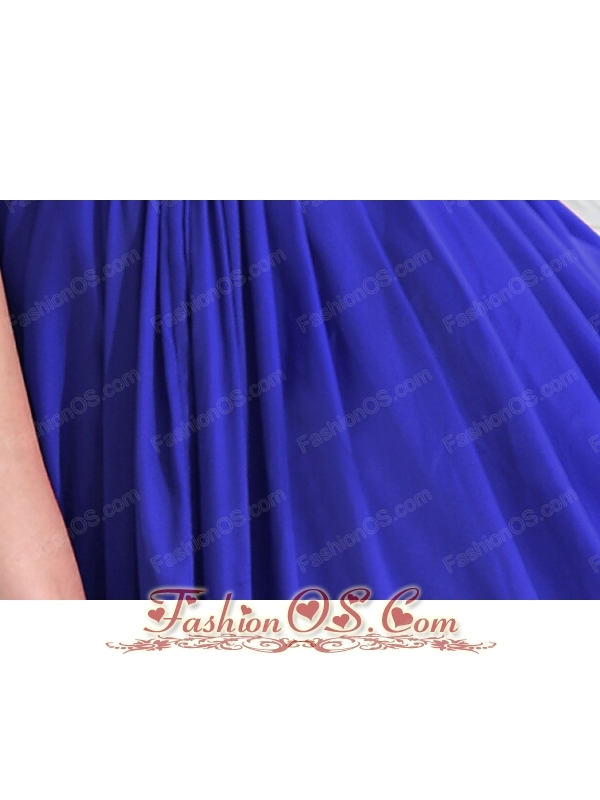 Blue Column V-neck Mini-length Taffeta Beading Prom / Homecoming Dress