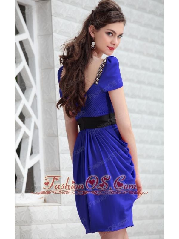Royal Blue Column V-neck Mini-length Taffeta Beading Prom / Homecoming Dress
