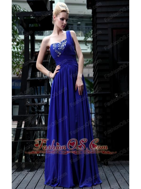 Royal Blue Empire One Shoulder Floor-length Chiffon Rhinestone Prom Dress