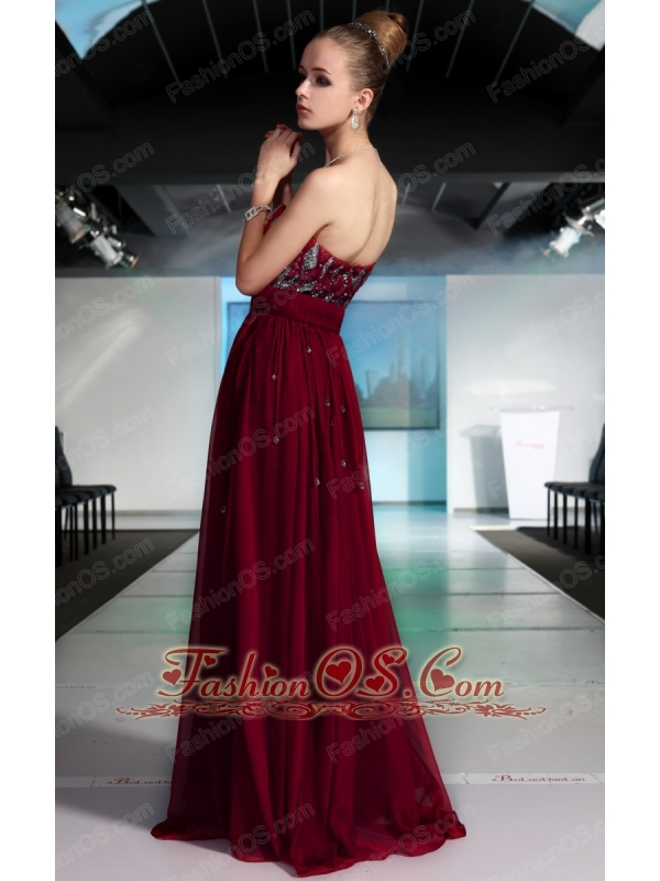 Burgundy Column / Sheath Strapless Floor-length Chiffon Beading and Sequins Prom / Evening Dress