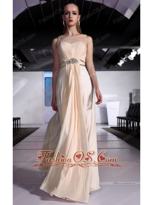 Champagne Empire Scoop Floor-length Chiffon Beading and Ruch Prom / Graduation Dress