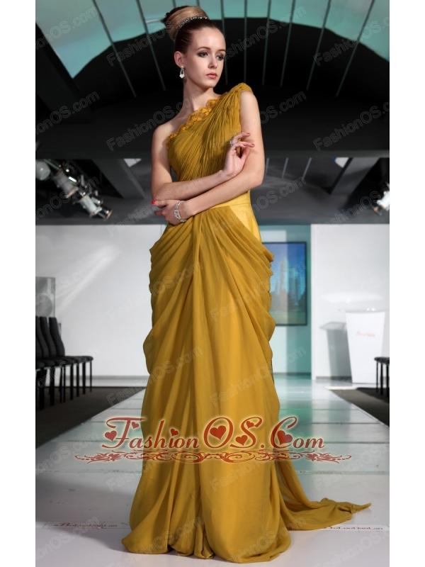 Maize Column / Sheath One Shoulder Floor-length Chiffon Ruch Prom / Evening Dress