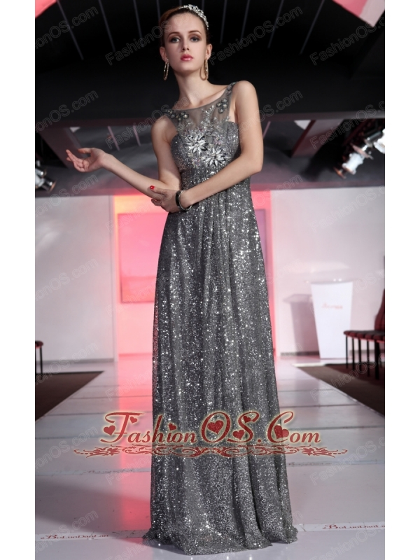 Silver Empire Scoop Brush Train Sequin Rhinestones Prom / Evening Dress